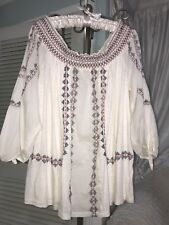 NEW ~ Plus Size 1X Ivory Blue Red Embroidery Boho Peasant Top Blouse Shirt $74