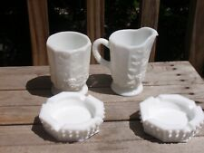 LOT OF 4 MILK GLASS 2 HOB NOB ASHTRAYS AND PITCHER AND VASE