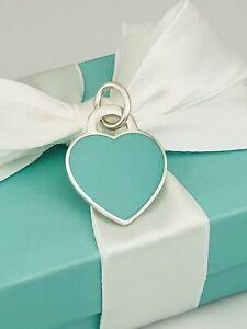 Return to Tiffany & Co Blue Enamel Sterling Silver Heart Pendant Charm