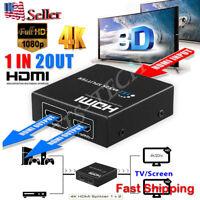 Ultra HD 4K 2Port HDMI Splitter 1×2 Repeater Amplifier 3D 1080P Hub 1 In 2 Out B
