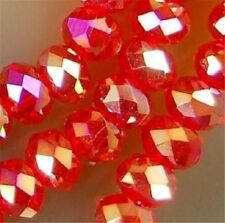 70pcs 6*8mm  Red AB Crystal Faceted Roundel Gems Loose Beads