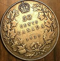 1929 CANADA SILVER 50 CENTS COIN HALF DOLLAR