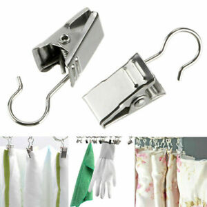10 Sliver Steel Small Curtain Hanging Bulldog X7E8 HomePegs Clips X9I7