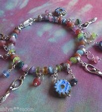 WICCA HIPPY BOHO GODDESS FLOWER CZECH PICASSO GLASS POWER CHARM BRACELET 2601A
