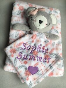 BABY GIRL GIFT SET BLANKET WITH COMFORTER MOUSE WITH PINK BOW PERSONALISED NAME