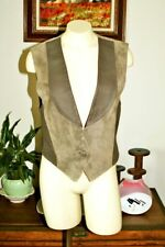 Wapiti Made In New Zealand 12 Vintage Vest Leather Suede Brown/Tan Collar EUC!