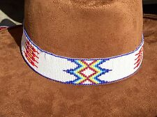 RED BLUE WHITE HATBAND/ HEADBAND NATIVE STYLE INSPIRED BEAD WORK H54/9
