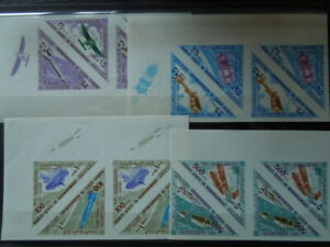G166  STAMPS  ADEN  1967  IMPERF  SPACE   TRIANGLE  PAIRS  MNH