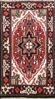 2'x3' RED Geometric Indo Heriz Oriental Area Rug Hand-knotted Medallion Carpet