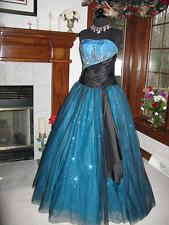 Tiffany 16807 Turquoise Black Ball Gown Dress sz 2