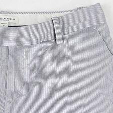 Banana Republic Stretch Womens 8 Gray White Striped Cttn Spandex Casual Shorts