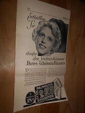 original Werbung Reklame Annonce Palmolive Shampoo ca. 40er Jahre