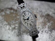Magnifique 1939 18 ct Solide Or Blanc & Diamant ROLEX 710 Mesdames Cocktail watch