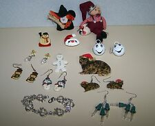 Christmas lot Earrings Snowman Sweater Pins & Porcelain Lenox Gingerbread Pin