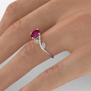 1.5ct Round Cut Pink Ruby Rose Flower Engagement Ring 14ct Wt/Yw/Rose Gold Over