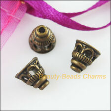 35Pcs Antiqued Bronze Tone Horn Flower End Bead Caps Connectors 7.5mm