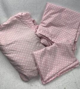 Pottery Barn Kids PB Pink With White Polka Dot Size Full Bedding Sheet Set 3 Pc