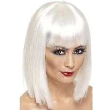 Ladies Fancy Dress Glam Wig with Fringe 80s 1980s Party White New by Smiffys