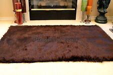 3' x 5' Chocolate Brown faux fur bearskin plush shaggy contemporary rug f3