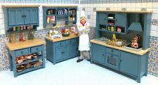 Dollhouse Miniature  Empty Wooden Shaker Blue  Pine Kitchen Unit --5 PCS.