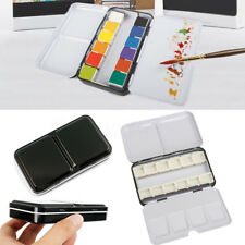 Portable Watercolor Metal Paint Artist Case Empty 12 Half Pans Storage Palettes
