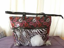 Modella Fashion Forever 6 piece Clear Tote Bag Set  Red & Pink Lips, Zebra print