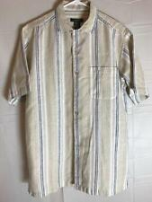 David Taylor Collection S/C Short  Sleeve Shirt White Beige Striped