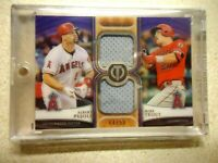 2018 TOPPS TRIBUTE DUAL RELIC MIKE TROUT AND ALBERT PUJOLS 14/50 RARE MINT CONDI