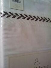 Yves Delorme LAURIER EBENE BLANC EMBRIODERED King Superking FLAT Sheet