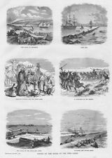 EGYPT Scenes on the Banks of the Suez Canal - Antique Print 1869