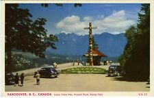 Postcard Indian Totem Pole, Prospect Point, Stanley Park, Vancouver BC Canada