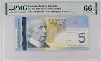 Canada 5 Dollars 2006 / 2009 P 101A Gem UNC PMG 66 EPQ