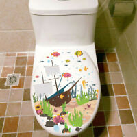 Ocean World Fish Bathroom Toilet Seat Cover Fridge Wall Decals Sticker Decor G