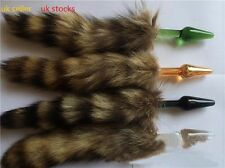 new fluffy faux fur fox cat tail with silver Glass plug