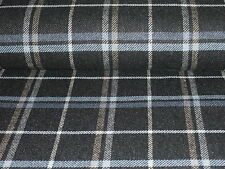 ITALIAN WOOL CHECK-GREY/BLUE/TAN/IVORY-SUITING FABRIC -FREE P+P