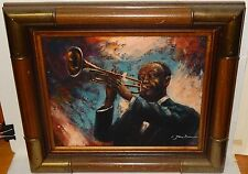 JAN BROWNE AFRICAN AMERICAN TRUMPET PLAYER ORIGINAL OIL ON CANVAS PAINTING