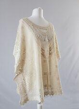 Vintage Cotton Poncho Crochet Festival Boho Hippy Cream Tribal Fringed Uk8 10 12