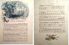 Stampa antica SPARTITO MUSICALE Guitares & Mandolines 1890 Old antique print
