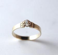 Victorian Rose Cut Diamond 18k Yellow Gold Engagement Ring Size 6.5