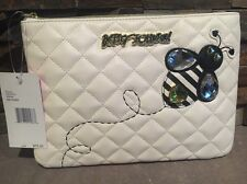 Betsey Johnson Cream Quilted Rhinestone Bumble Bee Travel Wallet Wristlet Pouch