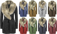 New Ladies Fur Collar Cardigan Jacket Knitted Sweater Coat Wrap Around Long Cape