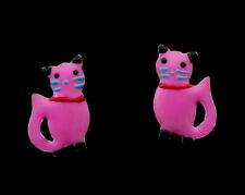 Boucle d oreille Clou Chat Japonais Maneki neko en Argent 925 -Rose- 380 - K88