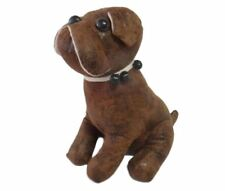 French Country Leather Like Brown Bulldog Doorstopper Sitting Weighted