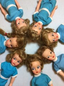 VINTAGE IDEAL Tammy Doll LOT - 7 Dolls, Red Case, Tagged Clothes