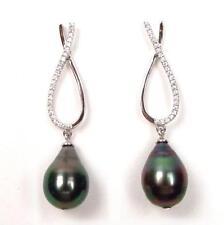 10mm Tahitian Black Pearl 925 Sterling Silver Dangle Post Earrings