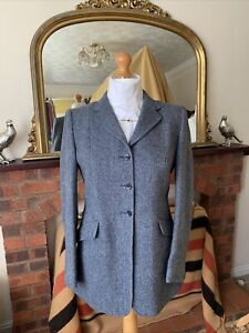 Ladies Harry Hall Pure New Wool Blue Tweed Show/Hacking Jacket Size 40/16