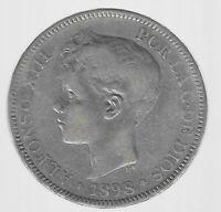 """5 Peseten """"Alphonso"""" Spanien 1898 in sehr schön/vorzüglich"""