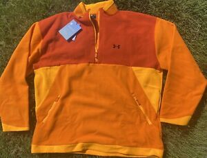 New $100 3X Under Armour RUSH Recovery 1/2 Zip Orange Color Block Loose 29X33