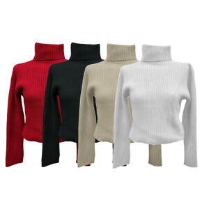 Women Ladies Full Sleeve Turtleneck Polo Sweatshirt Modern Acrylic Cotton S M L