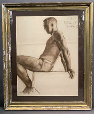 LG Antique 1940's NUDE MAN Jockstrap PORTRAIT Old PASTEL Charcoal PAINTING Gay